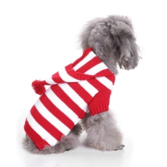 Dog Christmas Sweater Hoodie Striped Clothes for Samll Medium Large Breeds