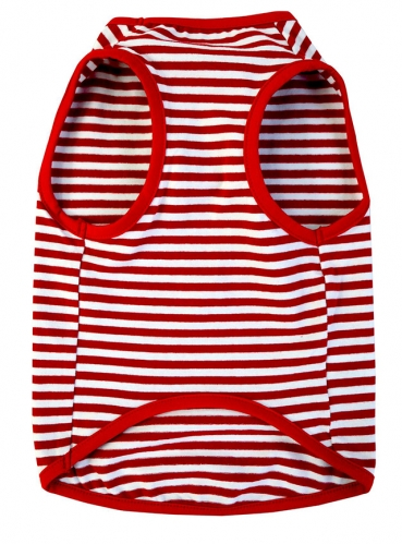 Uvoguepaw Dog Striped T-Shirts,Summer Soft Cotton Vest,Red White or Black White Stripe
