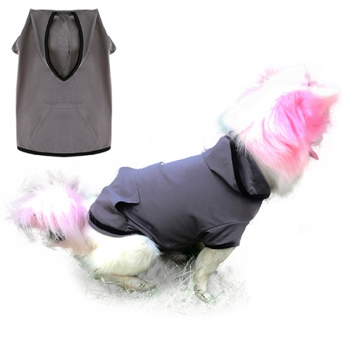 Uvoguepaw Dog Blank Hoodie Basic Pet Summer Sweatshirt,Grey Large