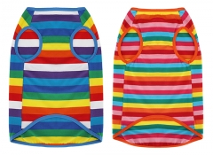 Uvoguepaw Dog Rainbow Striped T Shirt,Cute Dog clothes,for Small Medium Large Pet